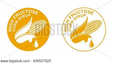 High Fructose Corn Syrup Sweetener Yellow Pictogram Icon - Ear Of Corn And Drop Of Food Additive - I