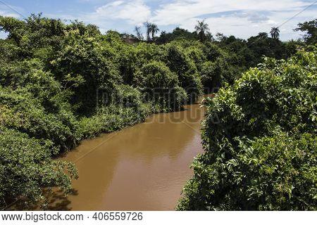 Sao Lourenco River Landscape Located At Ibitinga City, State Of Sao Paulo