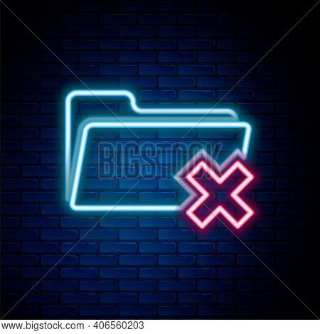 Glowing Neon Line Delete Folder Icon Isolated On Brick Wall Background. Folder With Recycle Bin. Del