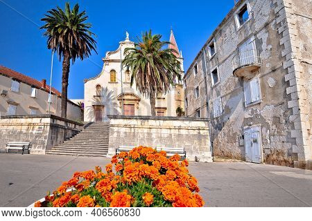 Town Of Milna Historic Stone Church View, Island Of Brac, Dalmatia Archipelago Of Croatia