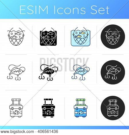 Equipment For Fishing Icons Set. Boat Fishing. Spinning Casting. Fishing Rod And Reel. Fish On Hook.