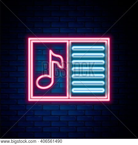 Glowing Neon Line Music Book With Note Icon Isolated On Brick Wall Background. Music Sheet With Note