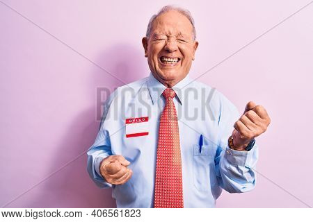 Senior handsome grey-haired businessman wearing tie and shirt with name presentation sticker celebrating surprised and amazed for success with arms raised and eyes closed