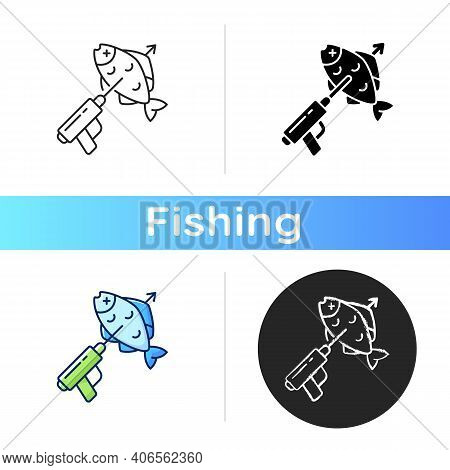 Spearfishing Icon. Fish On Spear. Boat Fishing. Snorkeling And Fishing. Fishing With A Spear Gun. Fi
