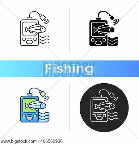 Fish Finder Icon. Fishers Equipment. Way To Find Fish. Efficient Fishing. Basic Fishing Gear. Hobby
