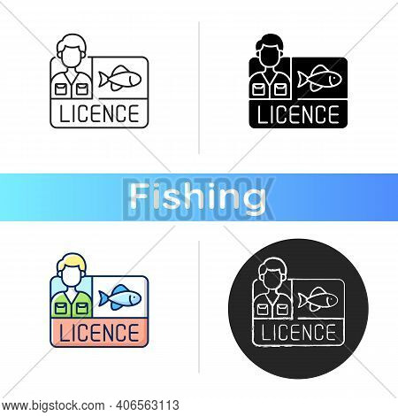Fishing Licence Icon. Permission To Catch Fish. Ecological Legislation. Nature Saving Strategy. Fish