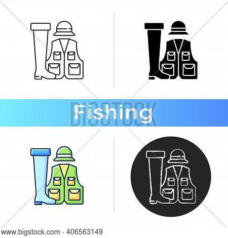 Fishermans Clothing And Accessories Icon. Specail Wearing For Comfortable Fishing. Fishery Gear. Hob