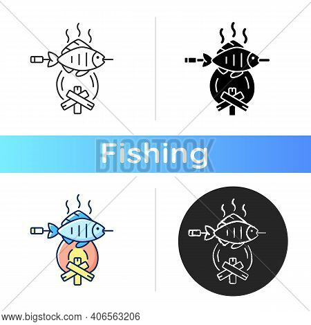 Cooking Freshly Caught Fish Icon. Fres Sea Food Idea. Hobby And Leasure Activities. Making A Fire. O