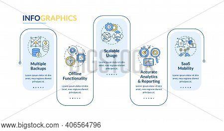 Saas Pluses Vector Infographic Template. Offline Functionality, Reporting Presentation Design Elemen