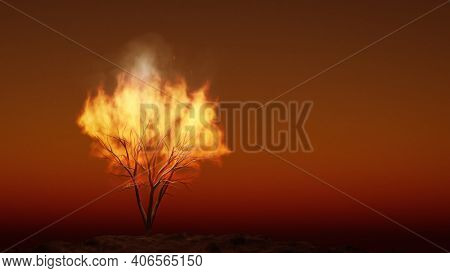 the burning bush religious symbol with space for your content. 3D illustration