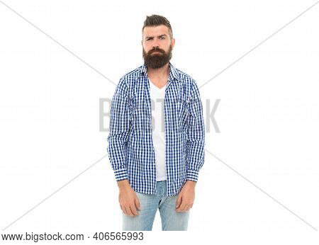 His Perfect Style. Charisma And Confidence. Confident Bearded Man In Casual Checkered Shirt. Caucasi