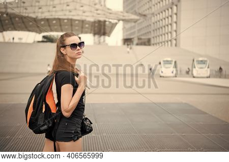 Always Have Backpack Ready To Go. Sensual Girl Carry Travel Backpack. Sexy Tourist Travel With Backp