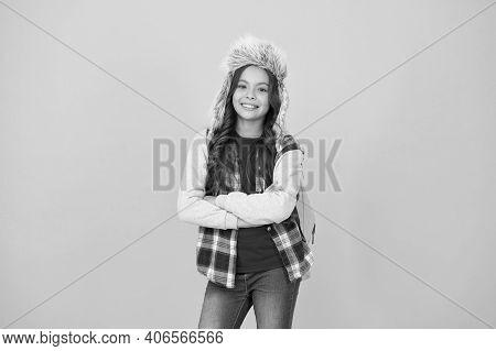 Winter Events At School. Eskimo Style. Winter Entertainment And Activities. Child Schoolgirl Long Ha