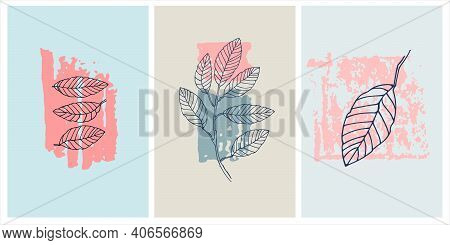 Decor Printable Art. Set Of Hand Drawn Elm Vector Illustrations On Abstract Backgrounds For Home Int
