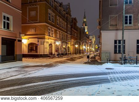 Old Market Square And Colorful Facades Of Medieval Houses At Night. Poznan. Poland.