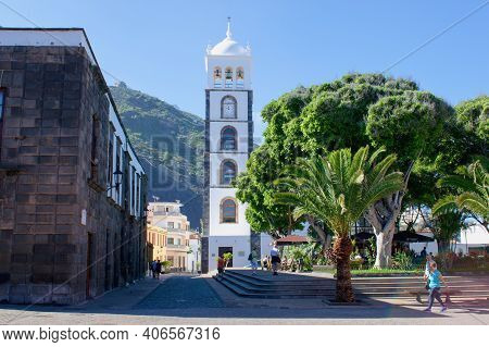 Garachico City, Tenerife, Canary Islands - 20.11.2018: Beautiful Typical Spanish Colonial Architectu