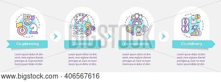 Co Production Parts Vector Infographic Template. Co-design, Co-delivery Presentation Design Elements