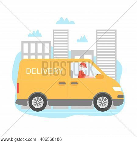 Safe Delivery Vector Illustration. Safe Delivery With Truck And Driver. Delivery Men With Masks And