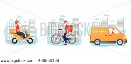 Safe Delivery Vector Set. Safe Delivery With Different Types Of Transport. Delivery Men With Masks A