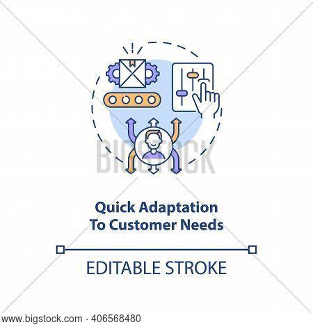 Quick Adaptation To Customer Needs Concept Icon. Industry 4.0 Goal Idea Thin Line Illustration. Adap