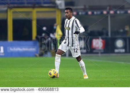 Milano, Italy. 02th Fabruary 2021 . Alex Sandro Of Juventus Fc  During The Coppa Italia Semi-final F