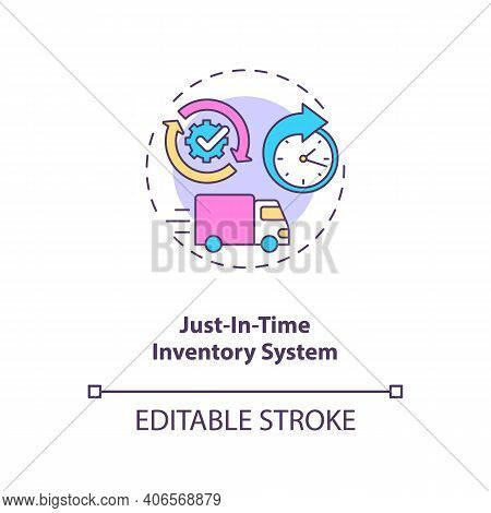 Just-in-time Inventory System Concept Icon. M2m Communication Idea Thin Line Illustration. Ordering