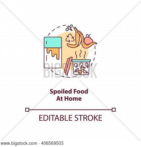 Spoiled Food At Home Concept Icon. Expired Products Idea Thin Line Illustration. Food Waste. Funky,