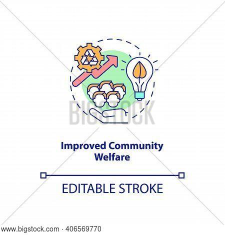 Improved Community Welfare Concept Icon. Organic Waste Reduction Benefit Idea Thin Line Illustration