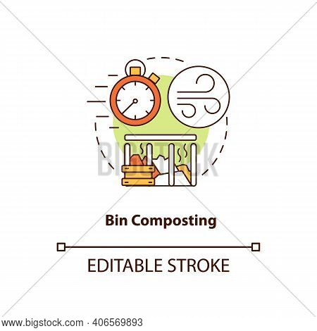 Bin Composting Concept Icon. Composting Method Idea Thin Line Illustration. Placing Organic Waste In