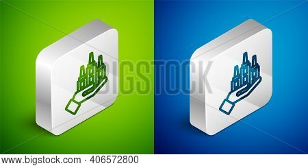 Isometric Line Skyscraper Icon Isolated On Green And Blue Background. Metropolis Architecture Panora