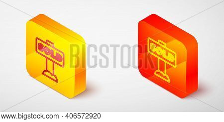 Isometric Line Hanging Sign With Text Sold Icon Isolated On Grey Background. Sold Sticker. Sold Sign