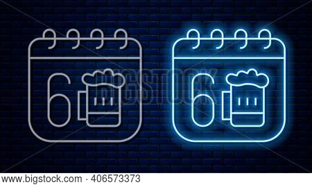 Glowing Neon Line Saint Patricks Day With Calendar Icon Isolated On Brick Wall Background. Four Leaf