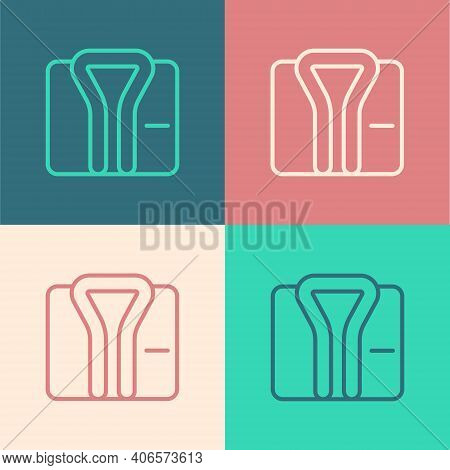 Pop Art Line Bathrobe Icon Isolated On Color Background. Vector