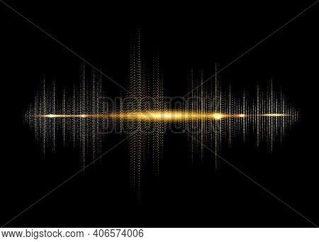 Sound Wave Rhythm Background. Golden Color Digital Sound Wave Equalizer, Technology And Earthquake W