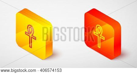Isometric Line Cross Ankh Icon Isolated On Grey Background. Yellow And Orange Square Button. Vector