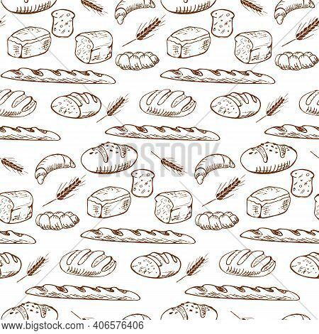 Various Types Of Bread In A Playful Fashionable Modern Style, Including Baguette, Bread, Flour, Loaf