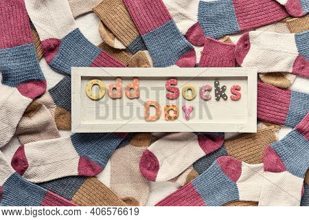 Odd Socks Day Initiative Against Bullying By Anti-bullying Alliance. Background Made From Many Misma