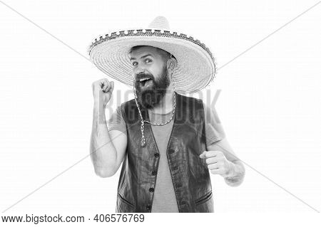 Mexican Melody Drives Him. Man Bearded Cheerful Guy Wear Sombrero Mexican Hat. Celebrate Traditional