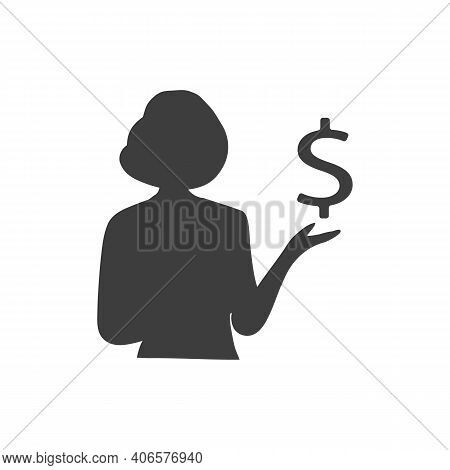 Girl Or Young Woman Holding A Dollar Icon. Vector