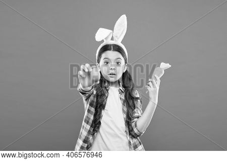 Egg Play On Easter Day. Easter Eggs And Cute Bunny. Happy Easter. Small Girl Wear Bunny Ears. Kid On