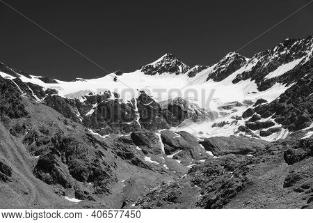 Passo Gavia, Sondrio Province, Lombardy, Italy: Landscape Along The Mountain Pass At Summer: Glacier