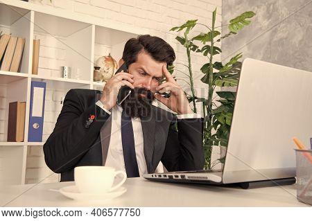 Businessman Phone Conversation. Mobile Call Negotiations. Logistics Department. Crisis Solution. Cri