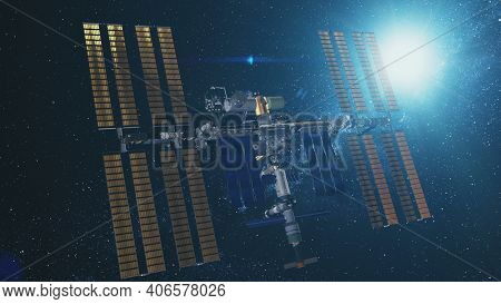 Closeup International Space Station at bright sun. Earth multinational satellite with golden solar charging panels flies in outer space against sunlight. 3d animation design background