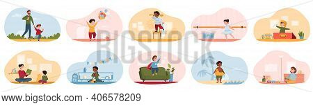 Cute Happy Diverse Children Performing Activities Or Doing Hobbies - Playing Toys, Walking, Swimming
