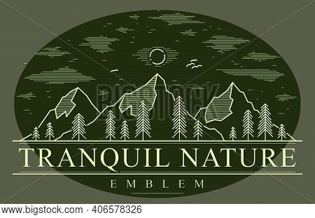 Mountains Range And Pine Forest Linear Vector Emblem On Dark, Line Art Drawing Of Mountain Peaks Wil
