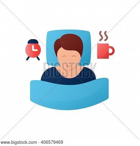 Wake Schedule Changes Flat Icon. Difficulty Falling Asleep. Insomnia. Sleep Disorder. Healthy Sleepi