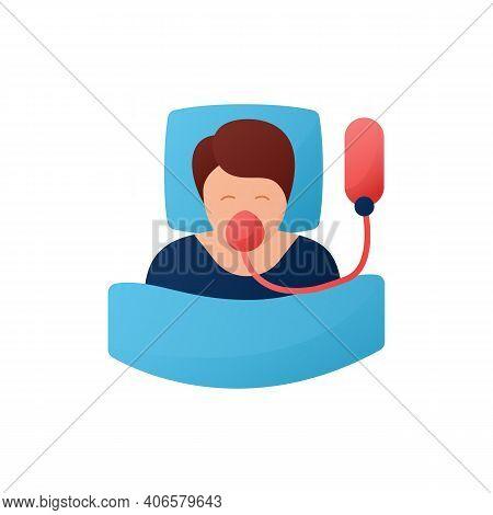 Breathing Machine Flat Icon. Apnea Treatment. Sleep Disorder. Mechanical Lungs Ventilation. Breathin