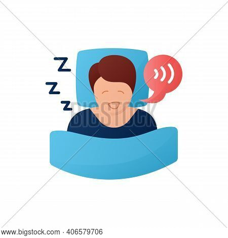 Sleep Talking Flat Icon. Sleep Disorder. Healthy Sleeping Concept. Sleep Problems Treatment. Dyssomn