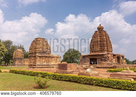 Bagalakote, Karnataka, India - November 7, 2013: Pattadakal Temple Complex. Brown Stone Tall Tower O