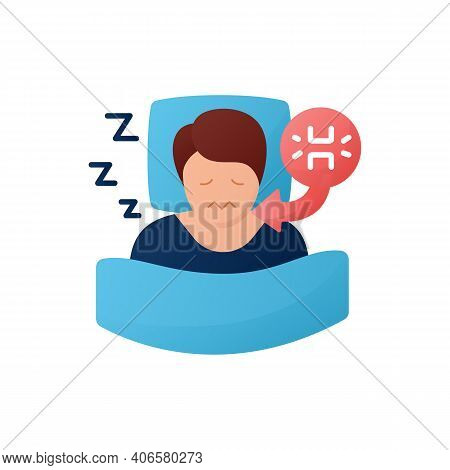 Teeth Grinding Flat Icon. Sleep Disorder. Healthy Sleeping Concept. Sleep Problems Treatment. Stress